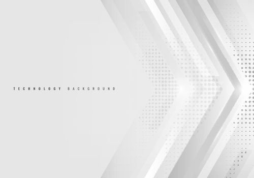Abstract background white and gray arrow with halftone technology style