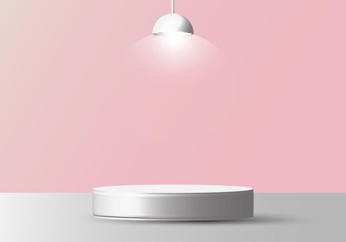 3D realistic empty white round pedestal mockup with lamp on soft pink background