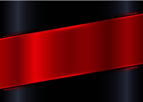 Abstract red shiny diagonal plate on black gradient glossy background with red laser lighting effect