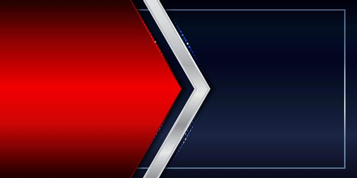 Banner template red shiny and silver metallic triangle header on blue background luxury style