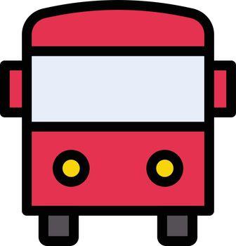 school bus vector line colour icon