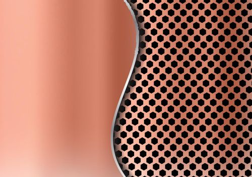 Abstract copper metal background made from hexagon pattern texture with curve sheet iron. Geometric grille black and red.
