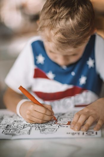 Nice Boy with Pleasure Drawing and Coloring. Children on Distance Education. Homework or Leisure Time. Schooling at Home.