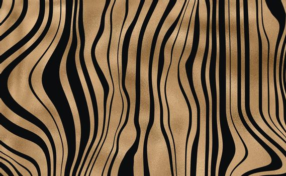 Zebra abstract stripes, wavy with colourful black gold beautiful pattern. Safari, wildlife zoo natural background. African animal design. Horizontal background. Illustration