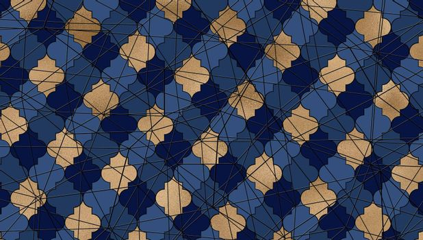 Abstract background. Blue gold pattern with Lines, Moroccan Arabic design geometric texture . Modern, contemporary lines with Moroccan design in gold and blue. 3D illustration