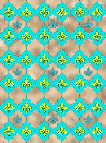 Seamless lily fleur de Lis background. Turquoise blue silver shiny pattern with heraldic symbol fleur-de-lis. Modern abstract pattern. 3D Illustration