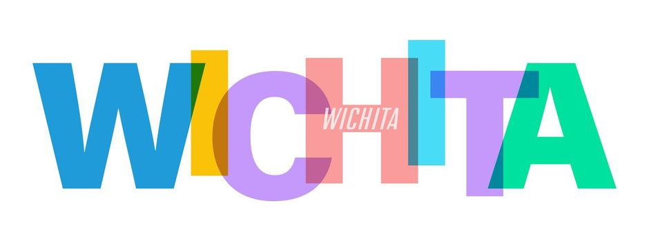 WICHITA. The name of the city on a white background. Vector design template for poster, postcard, banner