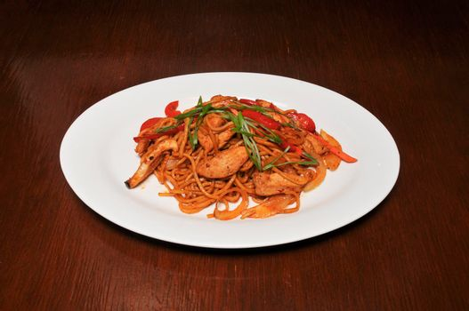 Delicious cuisine known as spicy chicken and noodle
