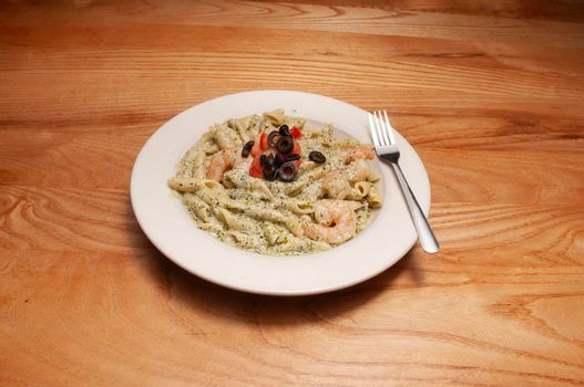 Delicious Italian cuisine known as shrimp pesto