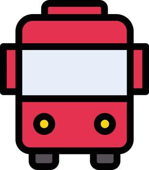 bus vector color line icon