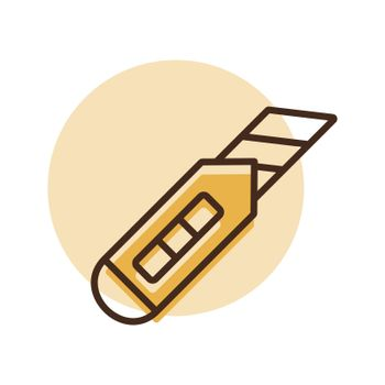 Construction utility knife vector flat icon