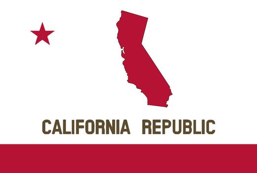 Flag of the State of California With Map