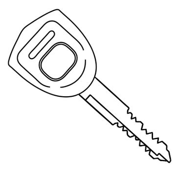 A typical automobile ignition key in outline isolated on a white background