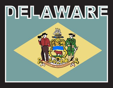Delaware state text in silhouette set over the state flag