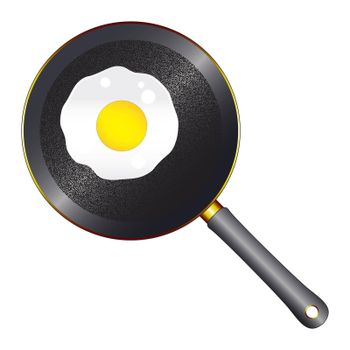 A black metal frying pan with wooden handle and stipple base on a white background with a single frying egg
