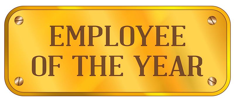 A brass plaque with the text Employee of the Year