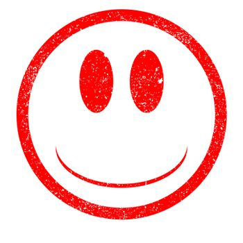 A rubber ink stamp with emoji smily facein red all with grunge effect over white