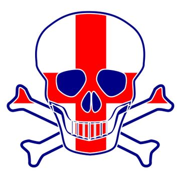 Skull and crossbones with the English flag of St. George flag sign over a white background