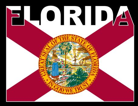 FloridaText in silhouette set over the state flag