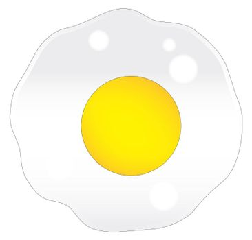 A single frying egg over a white background
