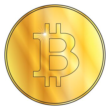 Golden bitcoin with symbol over a white background