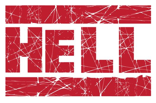 Hell red rubber ink stamp over a white background