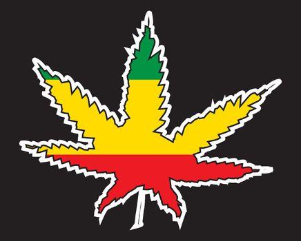 Jamaice Rastafarian Leaf Flag