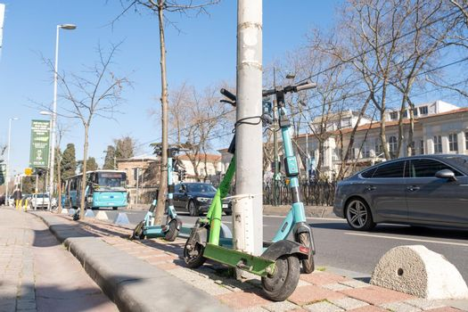 a few scooters from different Turkish electric scooter rental companies along the way in Turkey