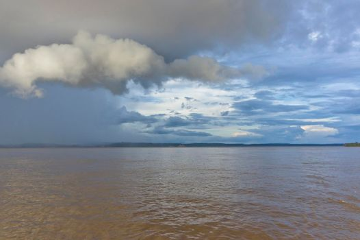 Amazon river view, Stormy clouds, Brazil, South America