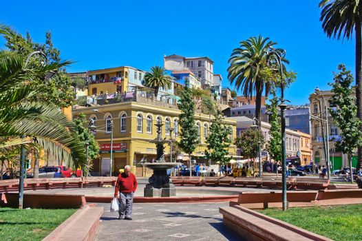 Valparaiso, Old city street view, Chile, South America