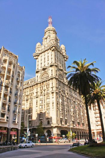 Montevideo, Plaza Indepencia, Old city street view, Uruguay, South America