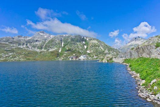 Grimselpass Wasserscheide, Road Through Alps, Switzerland, Europe