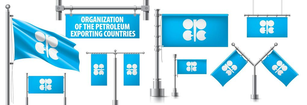 Vector set of the national flag of Organization of the Petroleum Exporting Countries in various creative designs