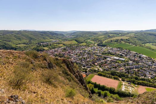 High angle view from the Rotenfels of Bad Muenster am Stein Ebernburg with rocks in the foreground