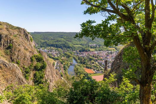 High angle view from the Rotenfels of Bad Muenster am Stein Ebernburg with rocks and tree n the foreground