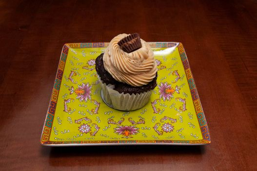 Delicious bakery product known as the chocolate peanut butter cupcake
