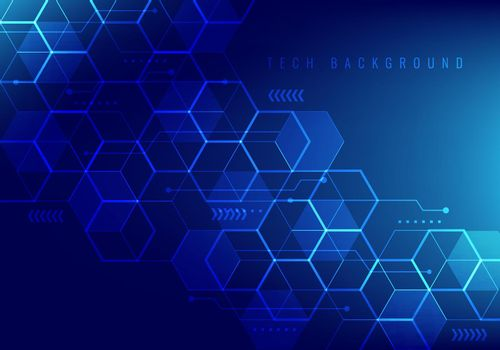 Abstract hi-tech digital technology geometric hexagon pattern shapes on blue background.