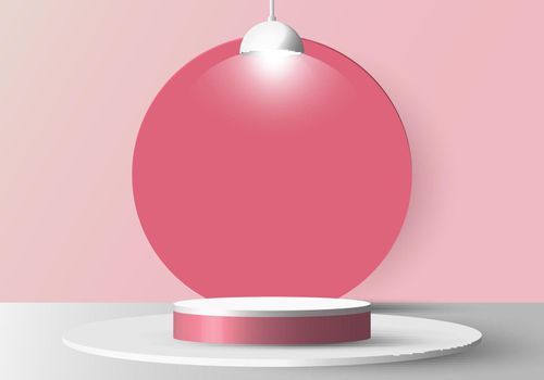 3D realistic empty white round pedestal mockup with lamp on soft pink background and circle backdrop