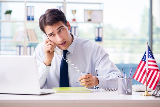 Sales agent working in travel agency