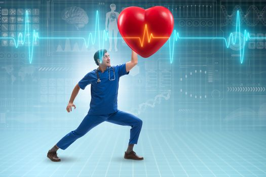 Man doctor in cardiology telemedicine concept
