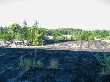 Panorama view from the roof of destroyed power plant building. Chigirin nuclear.