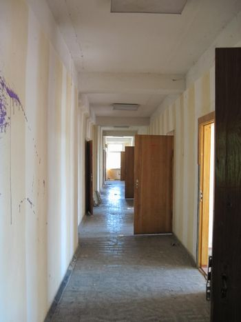 Rooms and corridors of abandoned industrial building of Chigirin nuclear power plant