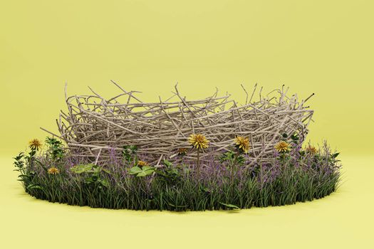 nest isolated on yellow background 3d illustration