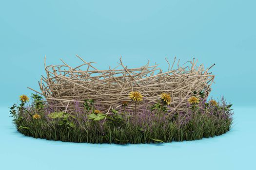 nest isolated on blue background 3d illustration