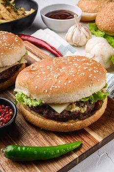 Burger junk food on white background