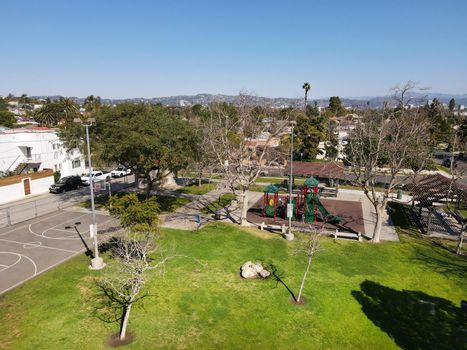 Aerial view above small park at Reynier Village neighborhood in West Los Angeles