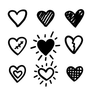 Doodle hearts. Love hand drawn cute line heart set. Vector shapes