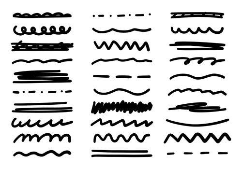 Sketch line. Scribble doodle brush set. Hand drawn black vector lines. Grunge marker set