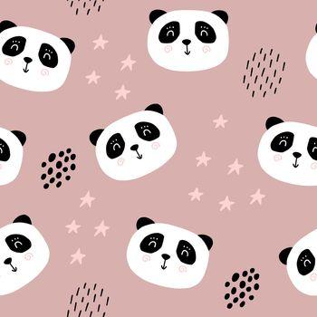 Cute panda bear seamless pattern. Cartoon baby print. Vector illustration scandinavian doodle bear.