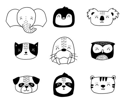 Scandinavian animals. Nordic cute animal set. Vector hand drawn owl, funny cat dog faces.